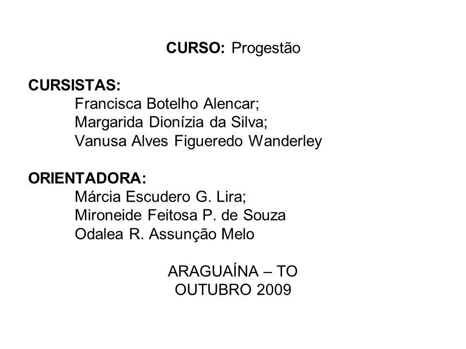CURSO: Progestão CURSISTAS: Francisca Botelho Alencar; Margarida Dionízia da Silva; Vanusa Alves Figueredo Wanderley ORIENTADORA: Márcia Escudero G.