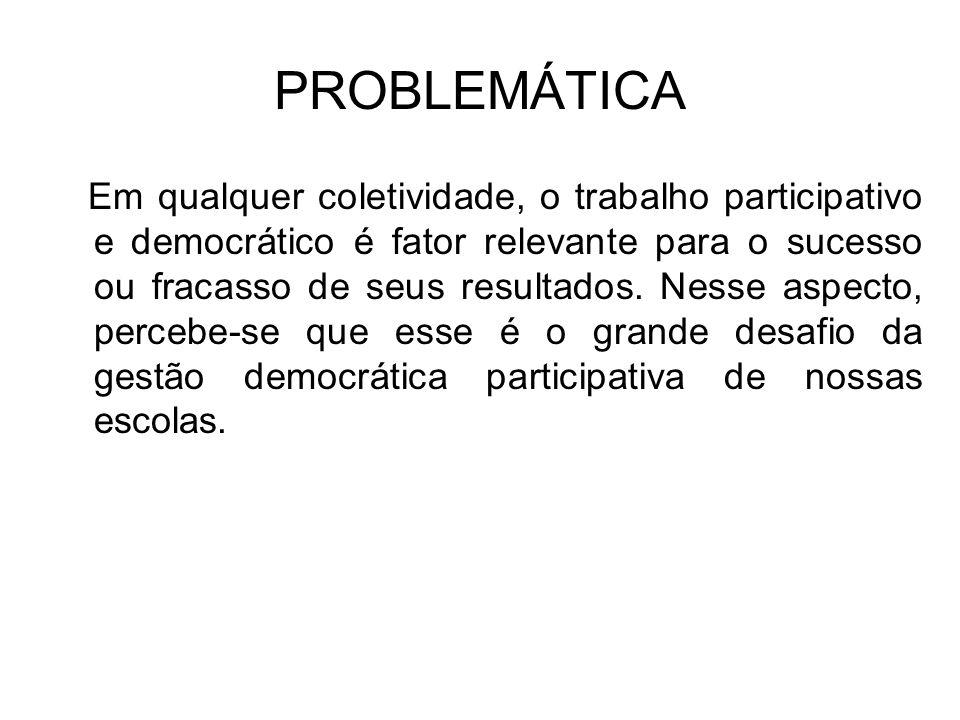 PROBLEMÁTICA Em qualquer coletividade, o trabalho participativo e democrático é fator relevante para o sucesso ou fracasso de seus resultados.
