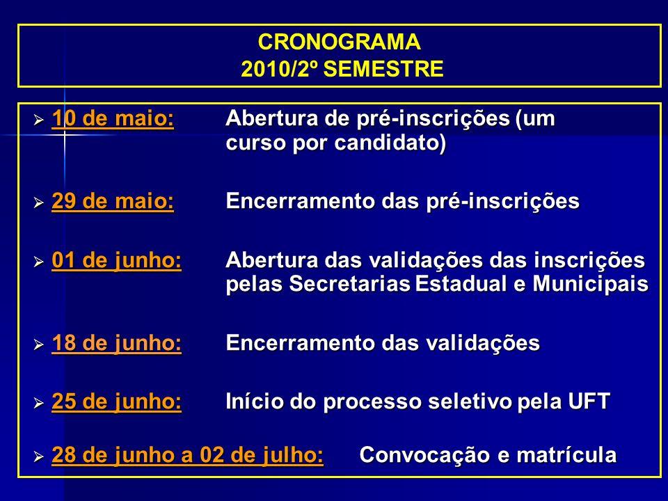 CRONOGRAMA 2010/2º SEMESTRE 10 de maio:Abertura de pré-inscrições (um curso por candidato) 10 de maio:Abertura de pré-inscrições (um curso por candida