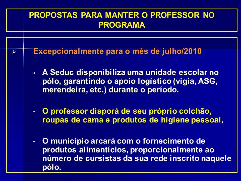PROPOSTAS PARA MANTER O PROFESSOR NO PROGRAMA Excepcionalmente para o mês de julho/2010 Excepcionalmente para o mês de julho/2010 A Seduc disponibiliz