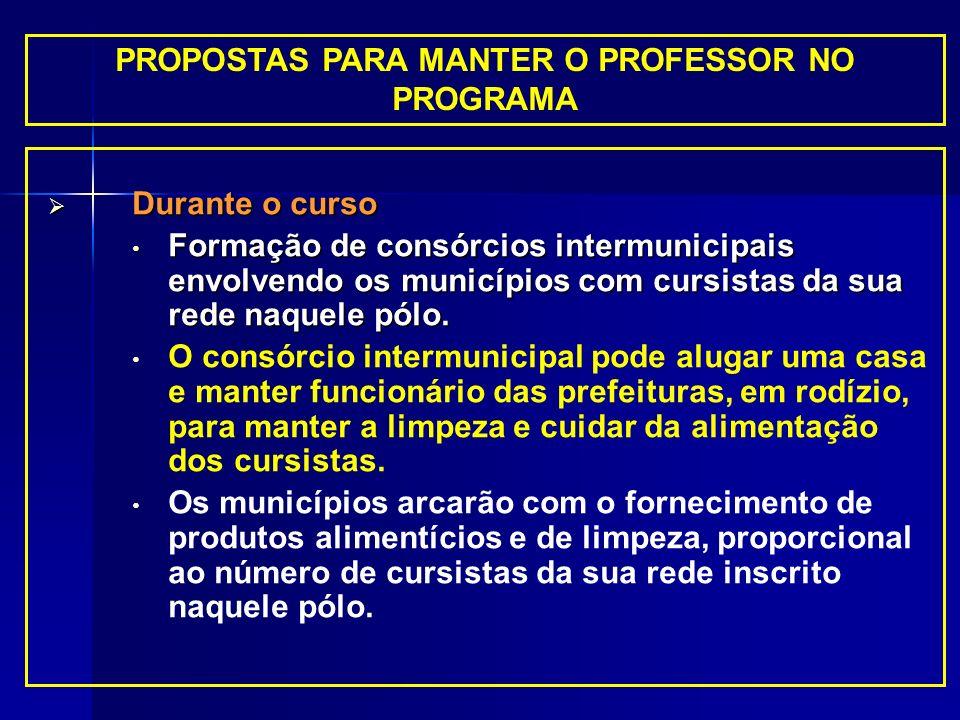 PROPOSTAS PARA MANTER O PROFESSOR NO PROGRAMA Durante o curso Durante o curso Formação de consórcios intermunicipais envolvendo os municípios com curs