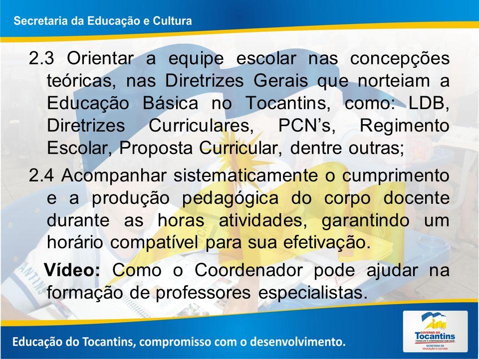 2.3 Orientar a equipe escolar nas concepções teóricas, nas Diretrizes Gerais que norteiam a Educação Básica no Tocantins, como: LDB, Diretrizes Curric