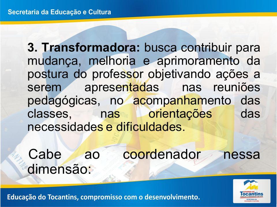 3. Transformadora: busca contribuir para mudança, melhoria e aprimoramento da postura do professor objetivando ações a serem apresentadas nas reuniões