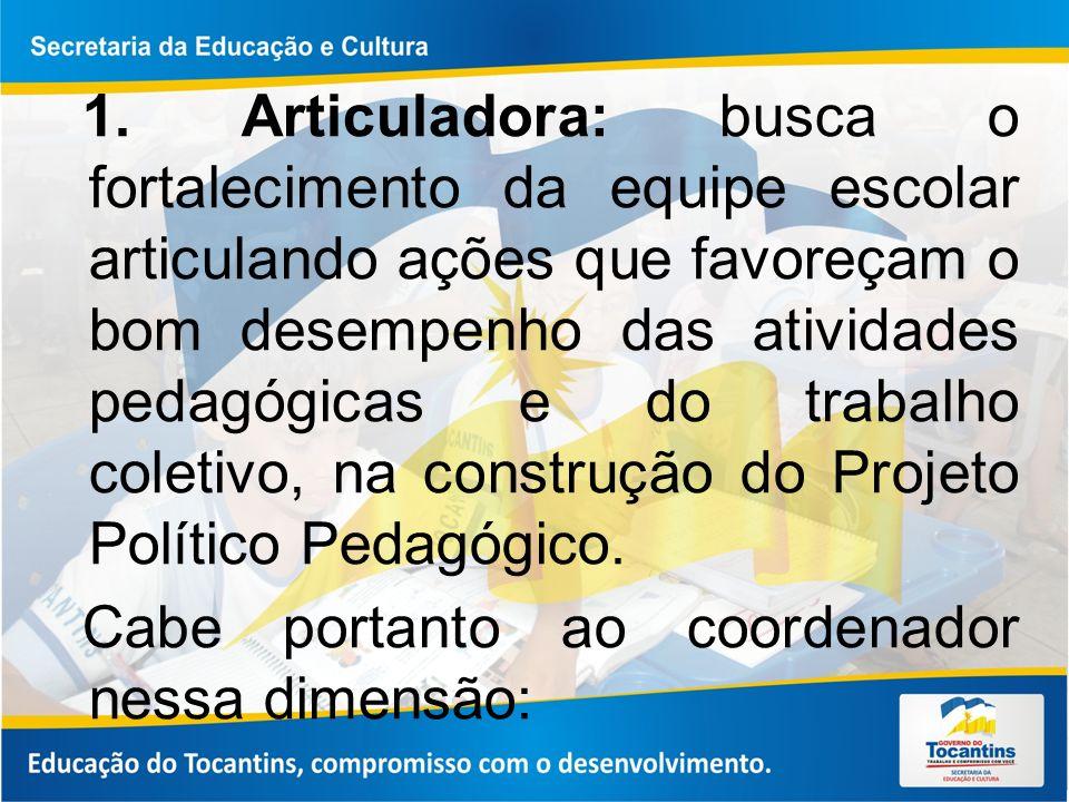 1. Articuladora: busca o fortalecimento da equipe escolar articulando ações que favoreçam o bom desempenho das atividades pedagógicas e do trabalho co