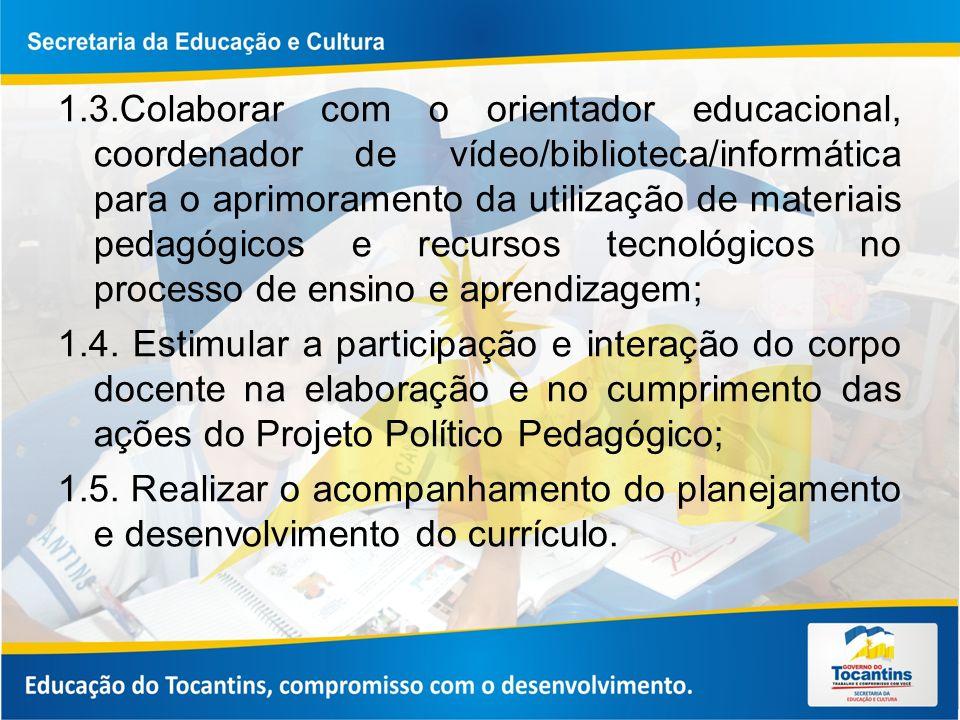 1.3.Colaborar com o orientador educacional, coordenador de vídeo/biblioteca/informática para o aprimoramento da utilização de materiais pedagógicos e