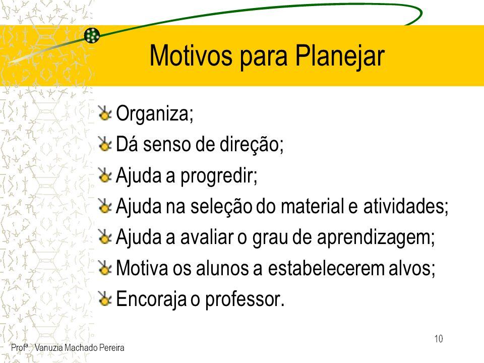 10 Motivos para Planejar Organiza; Dá senso de direção; Ajuda a progredir; Ajuda na seleção do material e atividades; Ajuda a avaliar o grau de aprend