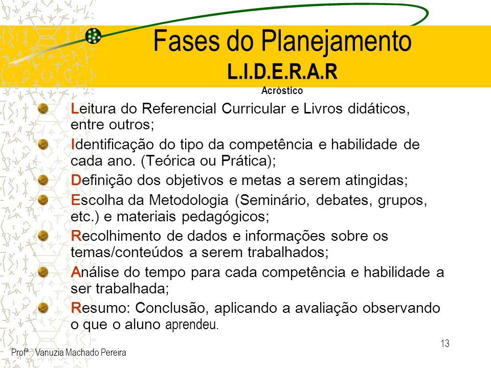 13 Fases do Planejamento L.I.D.E.R.A.R Acróstico L Leitura do Referencial Curricular e Livros didáticos, entre outros; I Identificação do tipo da comp