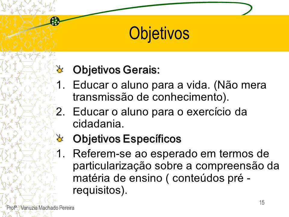15 Objetivos Objetivos Gerais: 1.Educar o aluno para a vida. (Não mera transmissão de conhecimento). 2.Educar o aluno para o exercício da cidadania. O