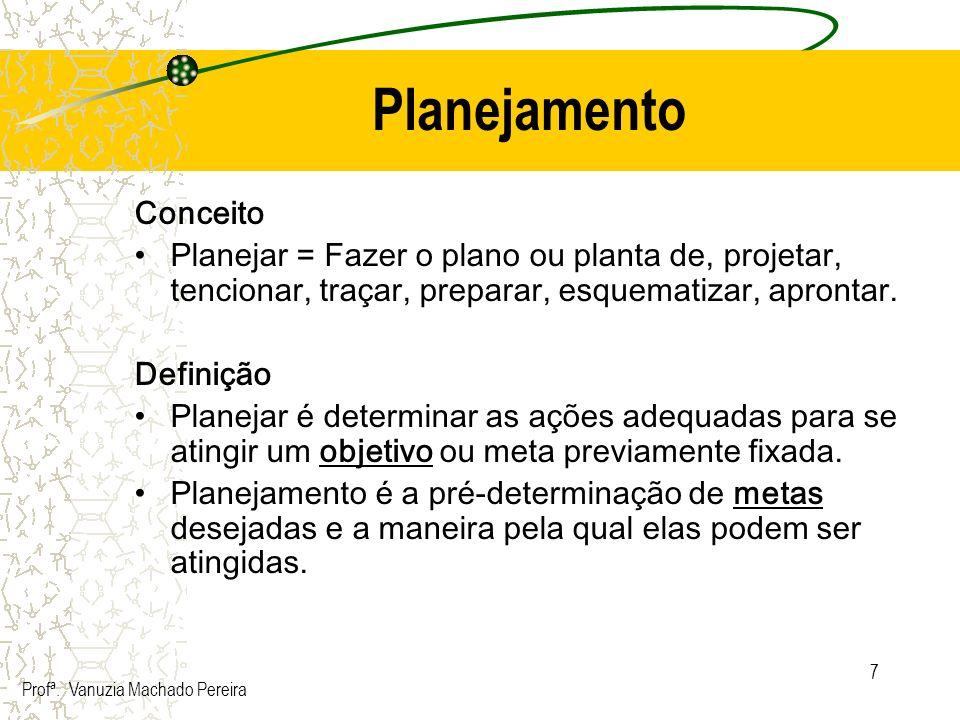 7 Planejamento Conceito Planejar = Fazer o plano ou planta de, projetar, tencionar, traçar, preparar, esquematizar, aprontar. Definição Planejar é det