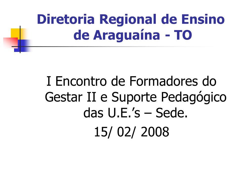 Diretoria Regional de Ensino de Araguaína - TO I Encontro de Formadores do Gestar II e Suporte Pedagógico das U.E.s – Sede. 15/ 02/ 2008