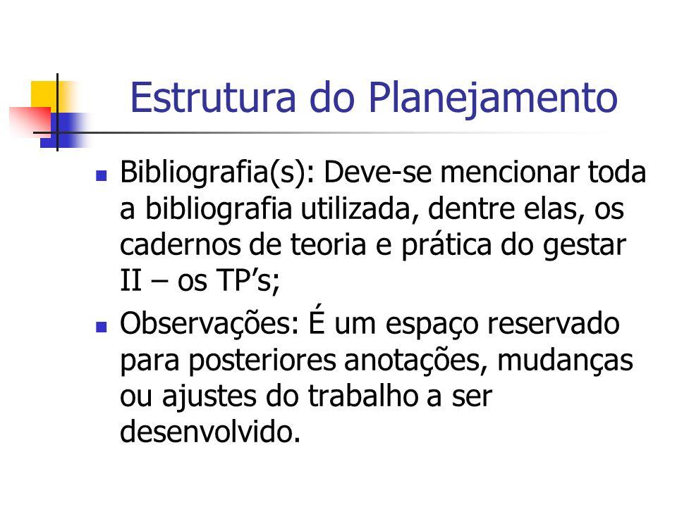 Estrutura do Planejamento Bibliografia(s): Deve-se mencionar toda a bibliografia utilizada, dentre elas, os cadernos de teoria e prática do gestar II