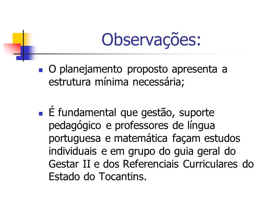 Observações: O planejamento proposto apresenta a estrutura mínima necessária; É fundamental que gestão, suporte pedagógico e professores de língua por