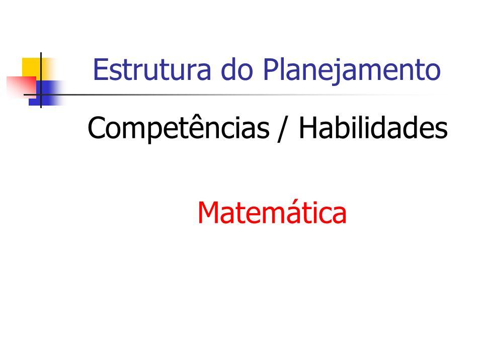 Estrutura do Planejamento Competências / Habilidades Matemática