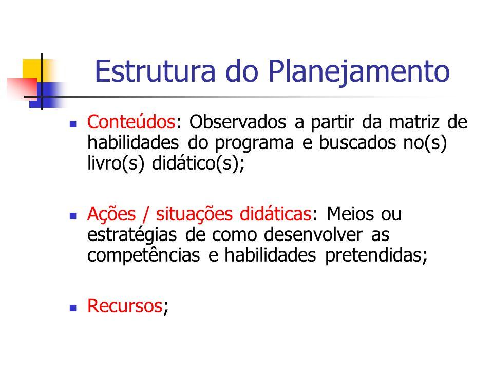Estrutura do Planejamento Conteúdos: Observados a partir da matriz de habilidades do programa e buscados no(s) livro(s) didático(s); Ações / situações