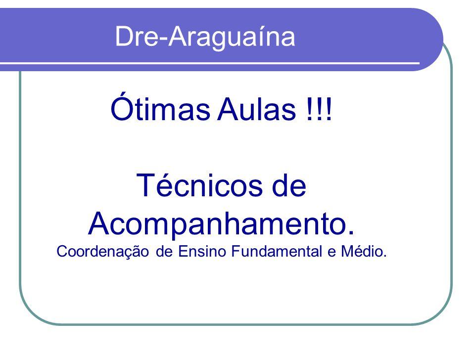 Dre-Araguaína Ótimas Aulas !!! Técnicos de Acompanhamento. Coordenação de Ensino Fundamental e Médio.