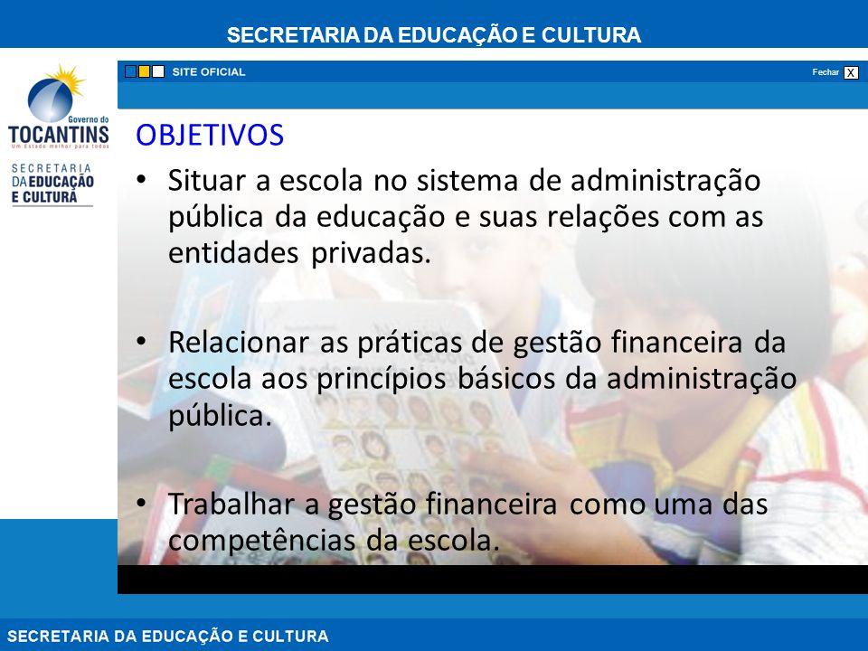 SECRETARIA DA EDUCAÇÃO E CULTURA x Fechar OBJETIVOS Situar a escola no sistema de administração pública da educação e suas relações com as entidades p