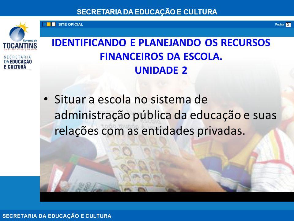 SECRETARIA DA EDUCAÇÃO E CULTURA x Fechar IDENTIFICANDO E PLANEJANDO OS RECURSOS FINANCEIROS DA ESCOLA. UNIDADE 2 Situar a escola no sistema de admini