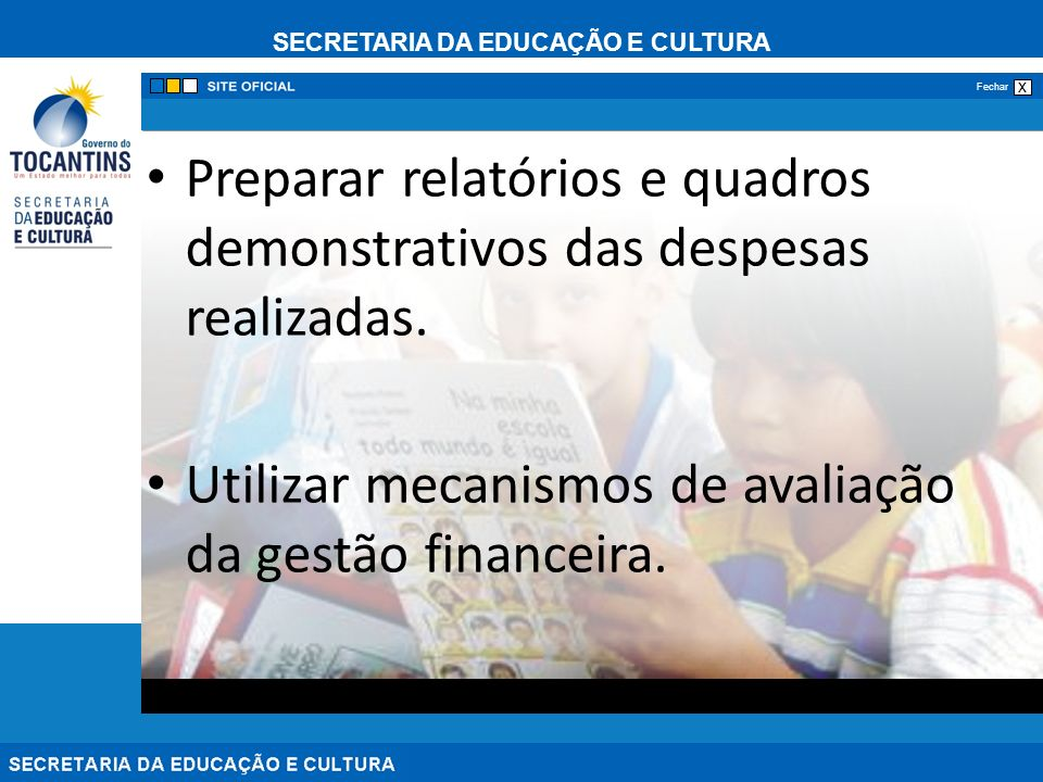 SECRETARIA DA EDUCAÇÃO E CULTURA x Fechar Preparar relatórios e quadros demonstrativos das despesas realizadas. Utilizar mecanismos de avaliação da ge