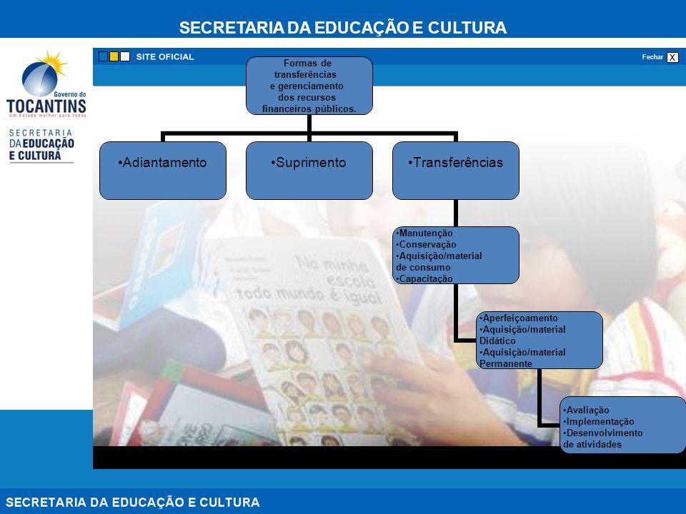SECRETARIA DA EDUCAÇÃO E CULTURA x Fechar Formas de transferências e gerenciamento dos recursos financeiros públicos. AdiantamentoSuprimentoTransferên