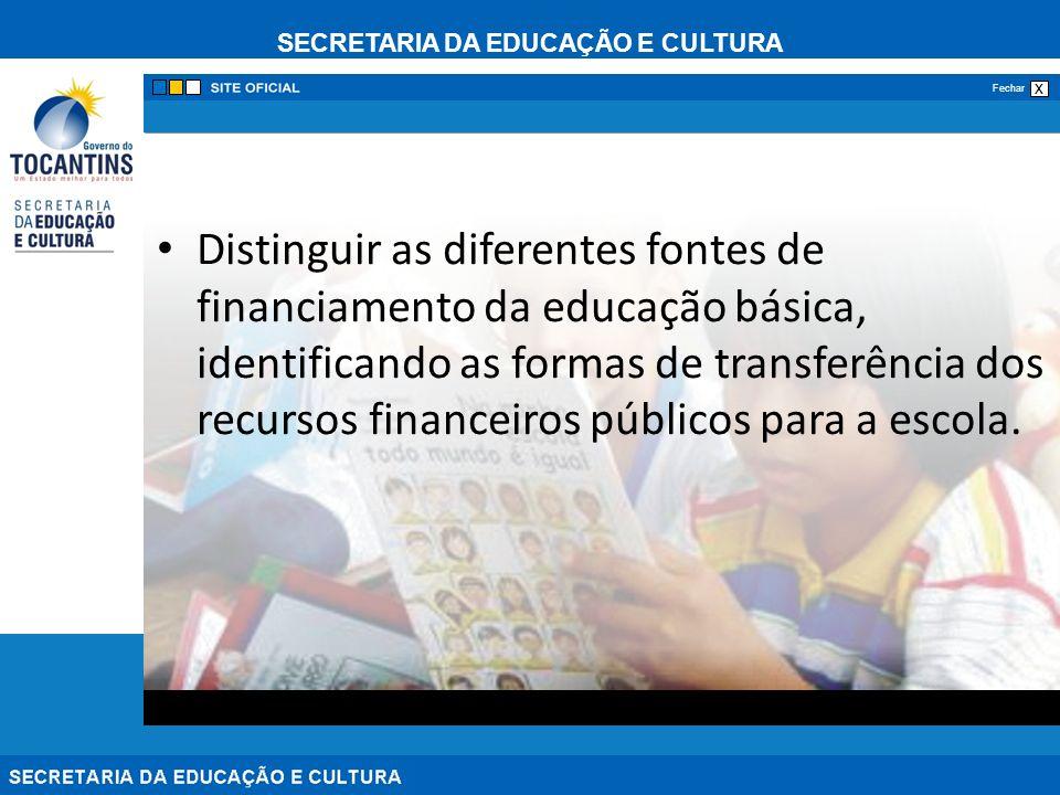 SECRETARIA DA EDUCAÇÃO E CULTURA x Fechar Distinguir as diferentes fontes de financiamento da educação básica, identificando as formas de transferênci