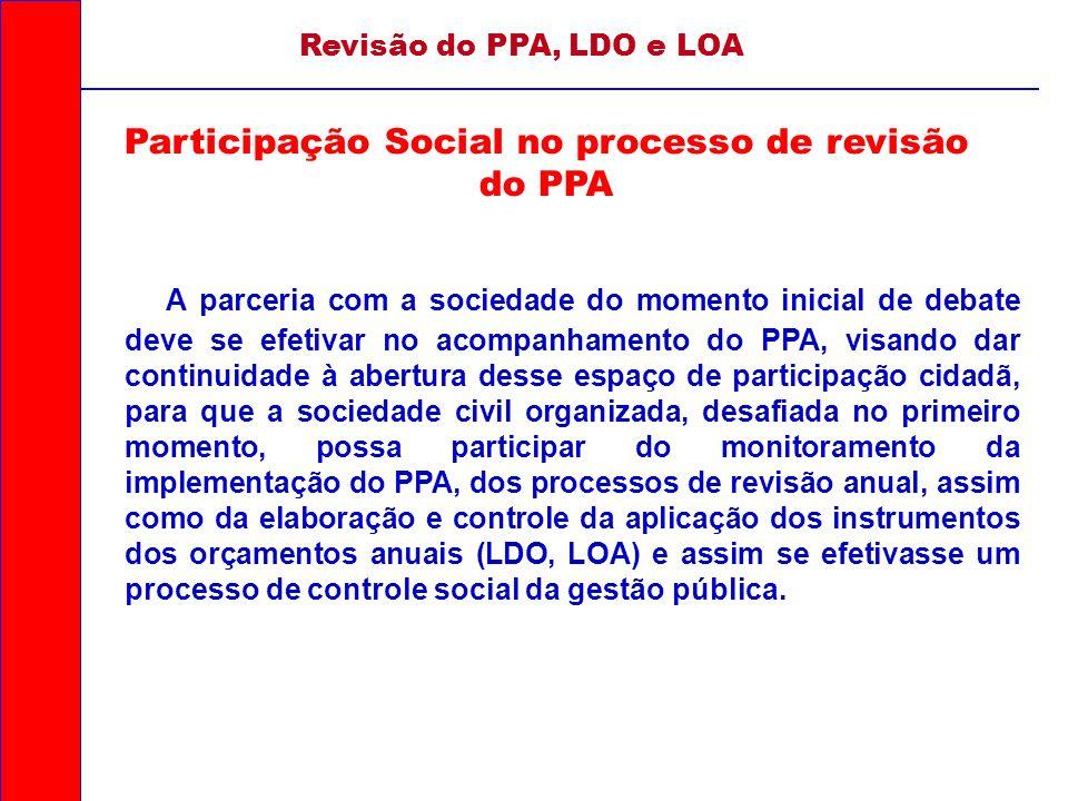 A parceria com a sociedade do momento inicial de debate deve se efetivar no acompanhamento do PPA, visando dar continuidade à abertura desse espaço de