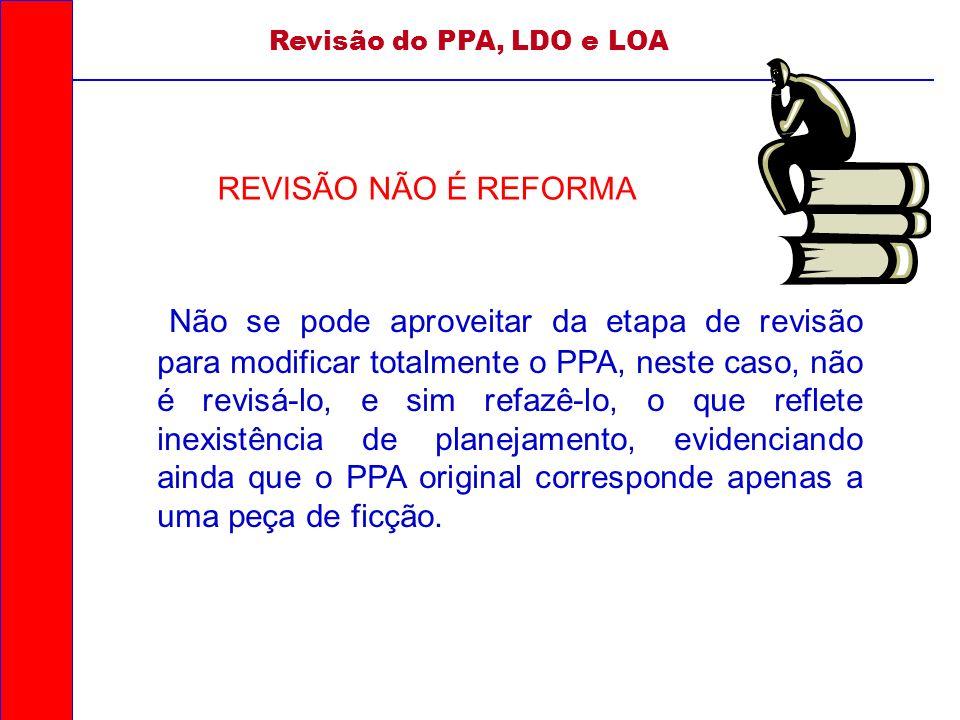 Não se pode aproveitar da etapa de revisão para modificar totalmente o PPA, neste caso, não é revisá-lo, e sim refazê-lo, o que reflete inexistência d