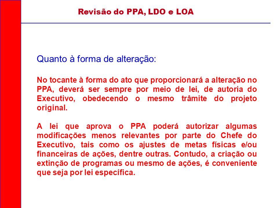 Revisão do PPA, LDO e LOA Quanto à forma de alteração: No tocante à forma do ato que proporcionará a alteração no PPA, deverá ser sempre por meio de l