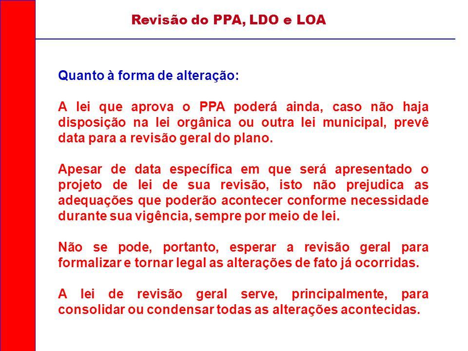 Revisão do PPA, LDO e LOA Quanto à forma de alteração: A lei que aprova o PPA poderá ainda, caso não haja disposição na lei orgânica ou outra lei muni