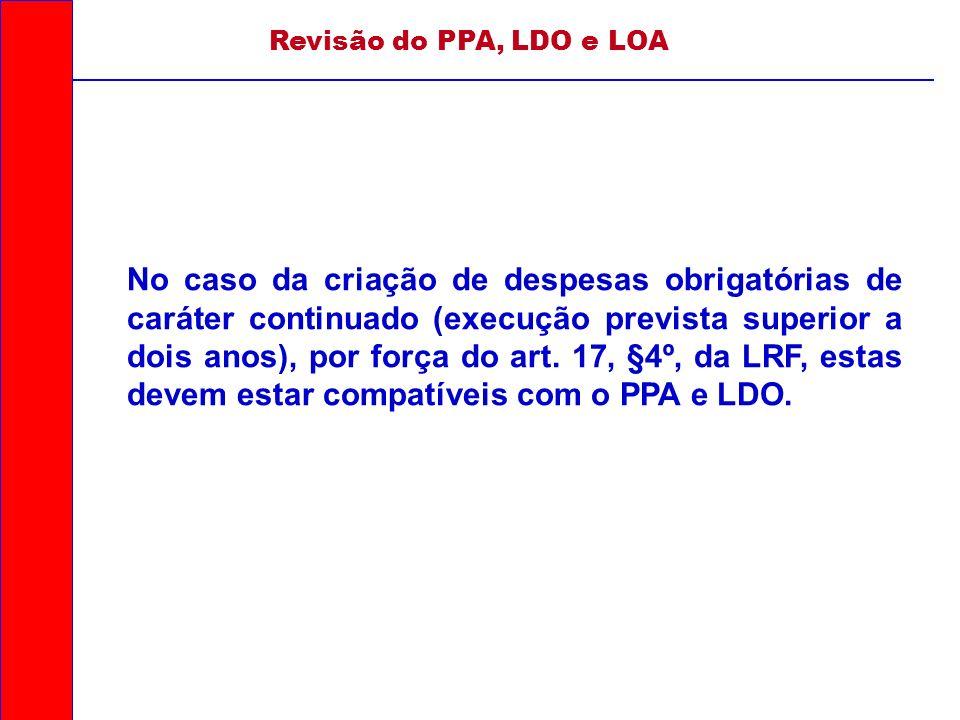 Revisão do PPA, LDO e LOA No caso da criação de despesas obrigatórias de caráter continuado (execução prevista superior a dois anos), por força do art