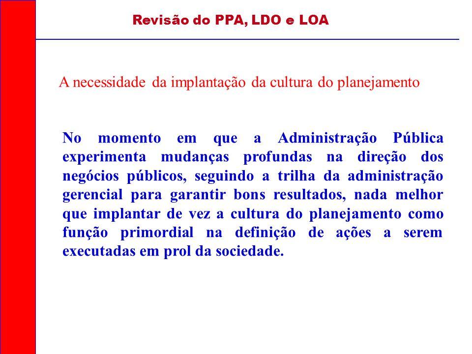 Revisão do PPA, LDO e LOA A necessidade da implantação da cultura do planejamento No momento em que a Administração Pública experimenta mudanças profu