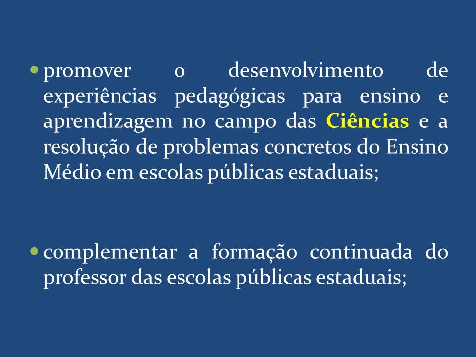 promover o desenvolvimento de experiências pedagógicas para ensino e aprendizagem no campo das Ciências e a resolução de problemas concretos do Ensino