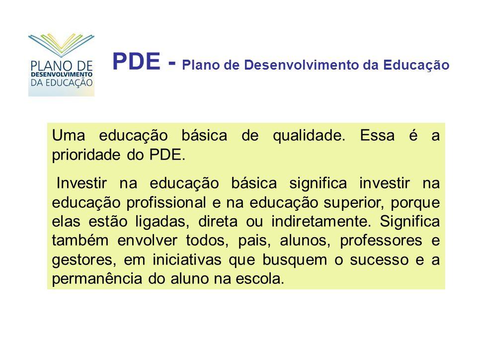 Uma educação básica de qualidade. Essa é a prioridade do PDE. Investir na educação básica significa investir na educação profissional e na educação su