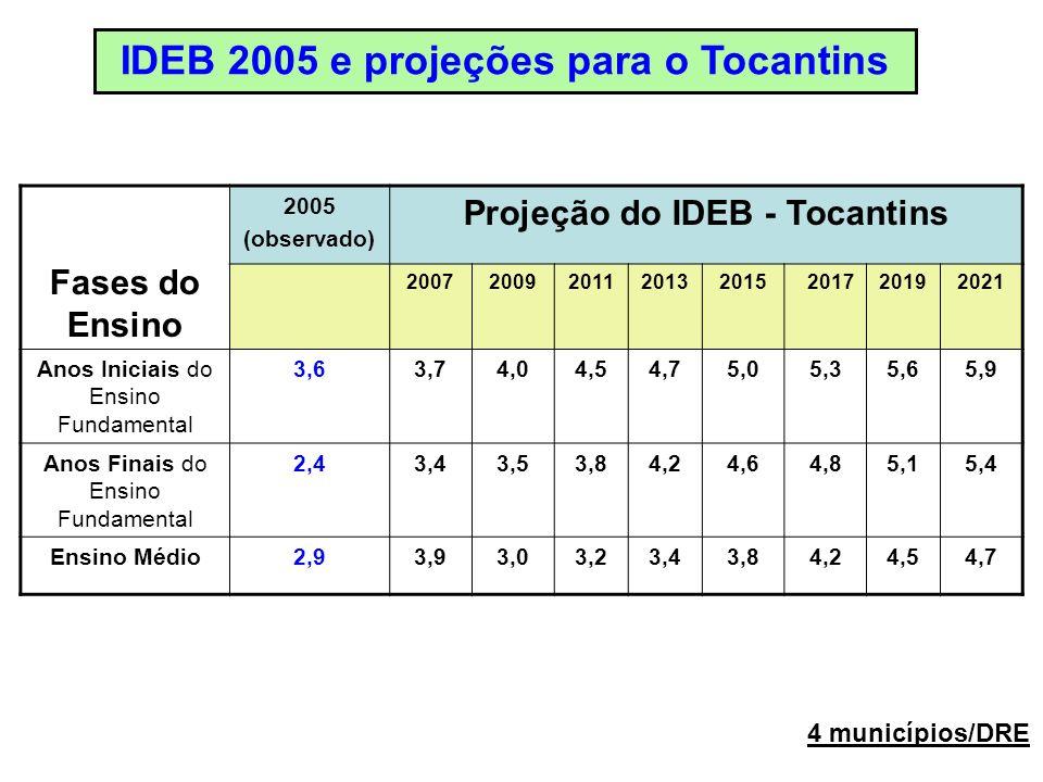 Fases do Ensino 2005 (observado) Projeção do IDEB - Tocantins 20072009201120132015201720192021 Anos Iniciais do Ensino Fundamental 3,63,74,04,54,75,05