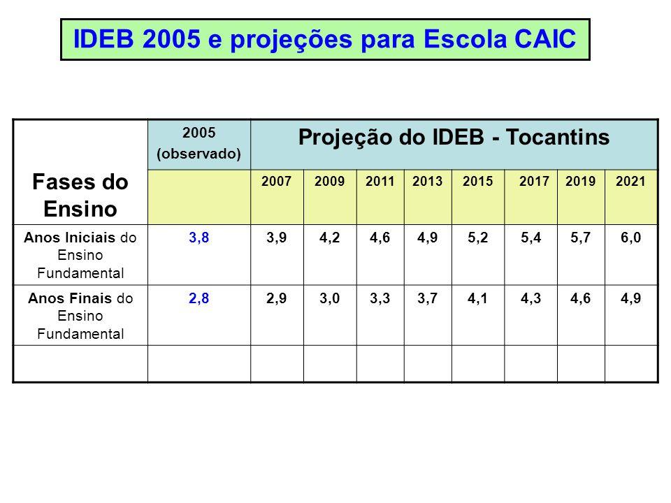 Fases do Ensino 2005 (observado) Projeção do IDEB - Tocantins 20072009201120132015201720192021 Anos Iniciais do Ensino Fundamental 3,83,94,24,64,95,25