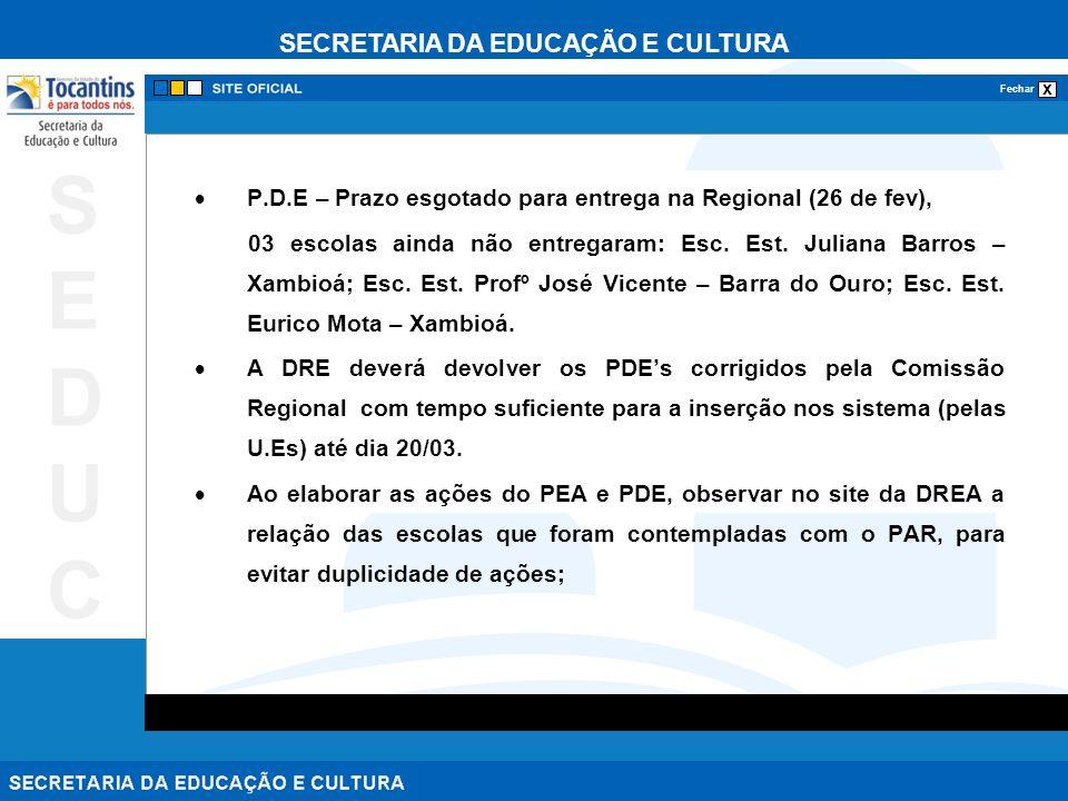 SECRETARIA DA EDUCAÇÃO E CULTURA x Fechar SEDUCSEDUC P.D.E – Prazo esgotado para entrega na Regional (26 de fev), 03 escolas ainda não entregaram: Esc