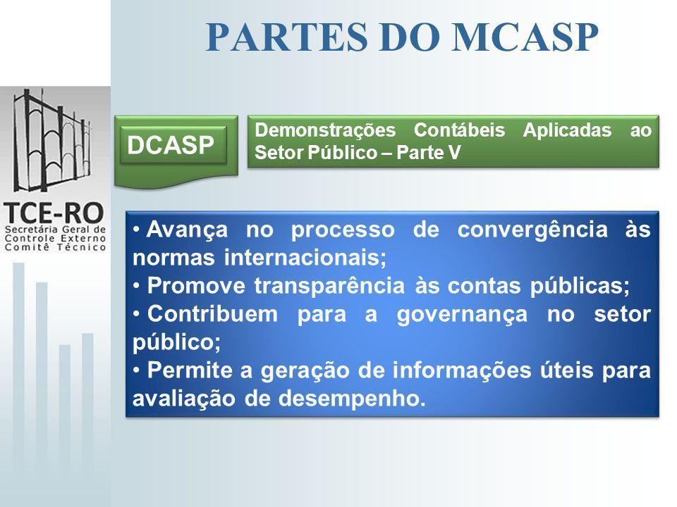PARTES DO MCASP DCASP Demonstrações Contábeis Aplicadas ao Setor Público – Parte V Avança no processo de convergência às normas internacionais; Promov