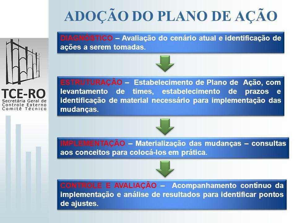 ADOÇÃO DO PLANO DE AÇÃO DIAGNÓSTICO – Avaliação do cenário atual e identificação de ações a serem tomadas. ESTRUTURAÇÃO – Estabelecimento de Plano de