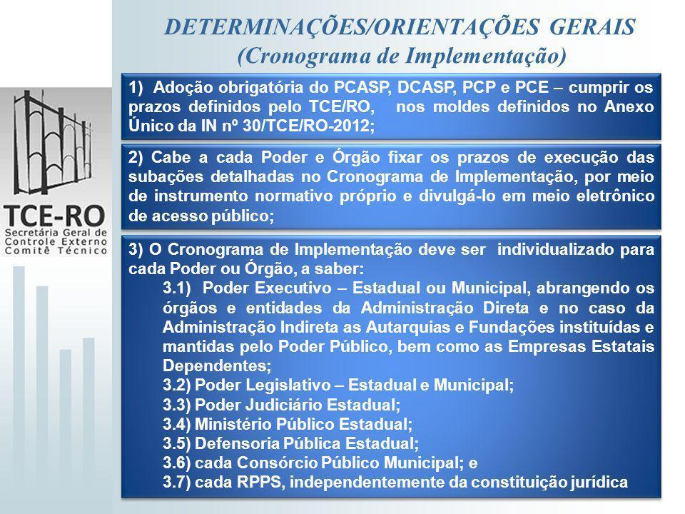 DETERMINAÇÕES/ORIENTAÇÕES GERAIS (Cronograma de Implementação) 1) Adoção obrigatória do PCASP, DCASP, PCP e PCE – cumprir os prazos definidos pelo TCE