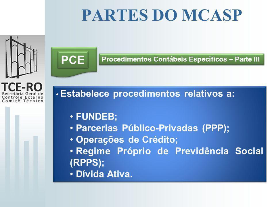 PARTES DO MCASP PCASP Plano de Contas Aplicado ao Setor Público – Parte IV Uniformiza conceitos e práticas contábeis; Padroniza as contas, com flexibilidade para que os entes detalhem níveis inferiores; Permite a consolidação nacional das contas públicas.