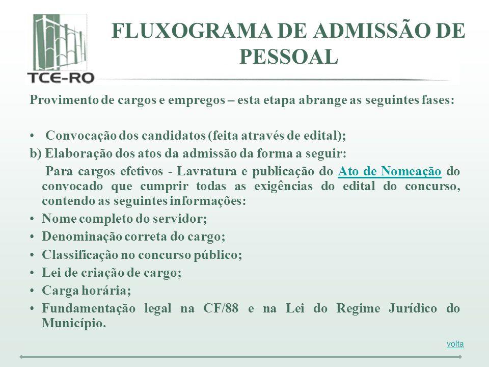 Provimento de cargos e empregos – esta etapa abrange as seguintes fases: Convocação dos candidatos (feita através de edital); b) Elaboração dos atos d