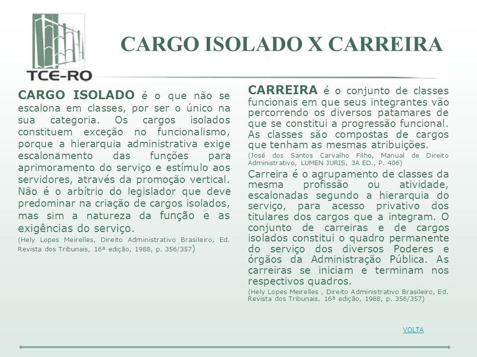 CARGO ISOLADO X CARREIRA CARGO ISOLADO é o que não se escalona em classes, por ser o único na sua categoria. Os cargos isolados constituem exceção no