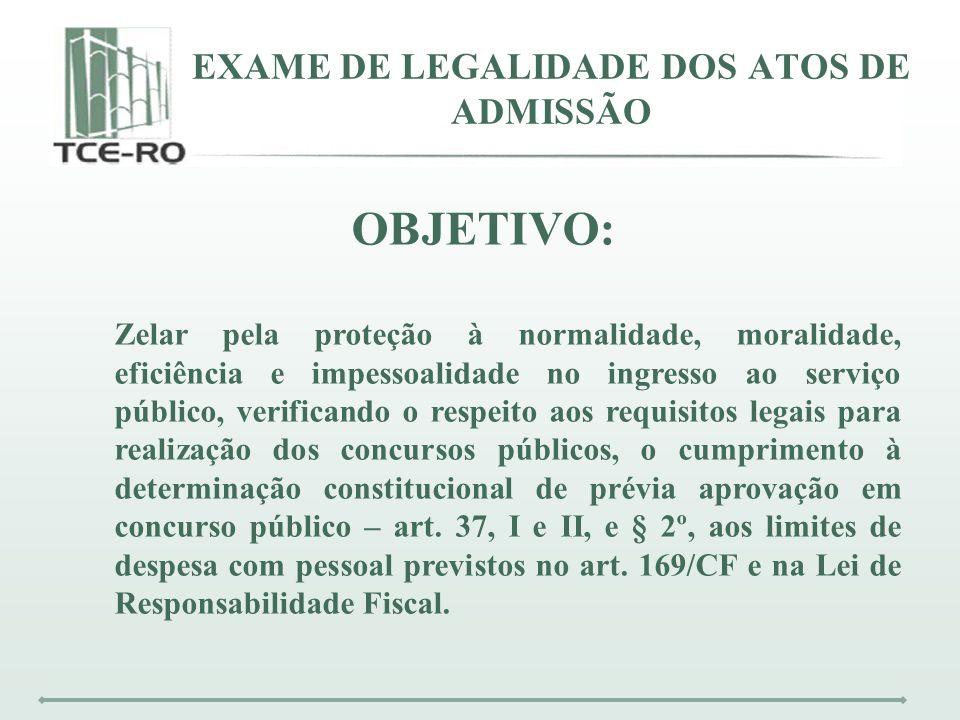 EXAME DE LEGALIDADE DOS ATOS DE ADMISSÃO OBJETIVO: Zelar pela proteção à normalidade, moralidade, eficiência e impessoalidade no ingresso ao serviço p