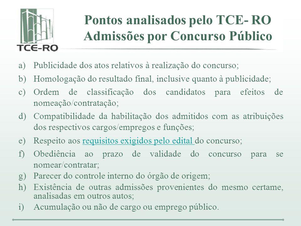 Pontos analisados pelo TCE- RO Admissões por Concurso Público a)Publicidade dos atos relativos à realização do concurso; b)Homologação do resultado fi