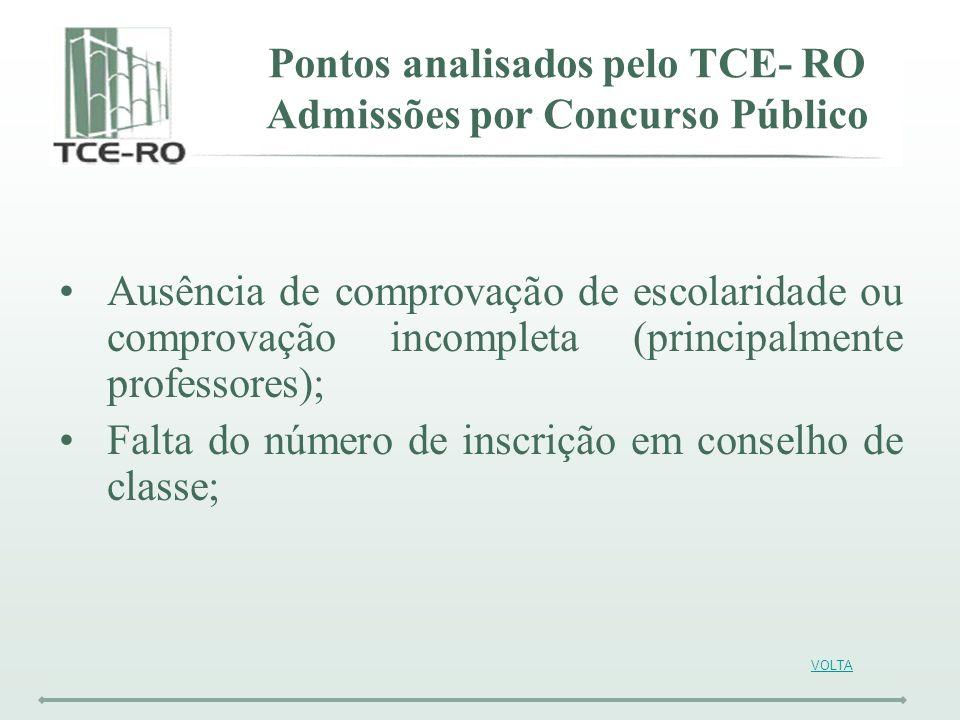 VOLTA Ausência de comprovação de escolaridade ou comprovação incompleta (principalmente professores); Falta do número de inscrição em conselho de clas