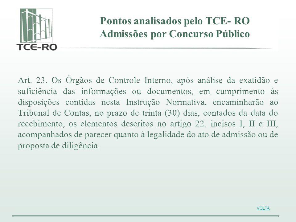 Pontos analisados pelo TCE- RO Admissões por Concurso Público Art. 23. Os Órgãos de Controle Interno, após análise da exatidão e suficiência das infor