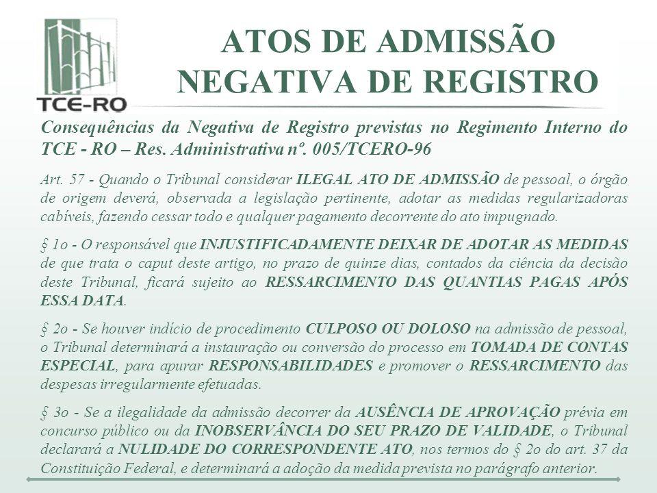 Consequências da Negativa de Registro previstas no Regimento Interno do TCE - RO – Res. Administrativa nº. 005/TCERO-96 Art. 57 - Quando o Tribunal co