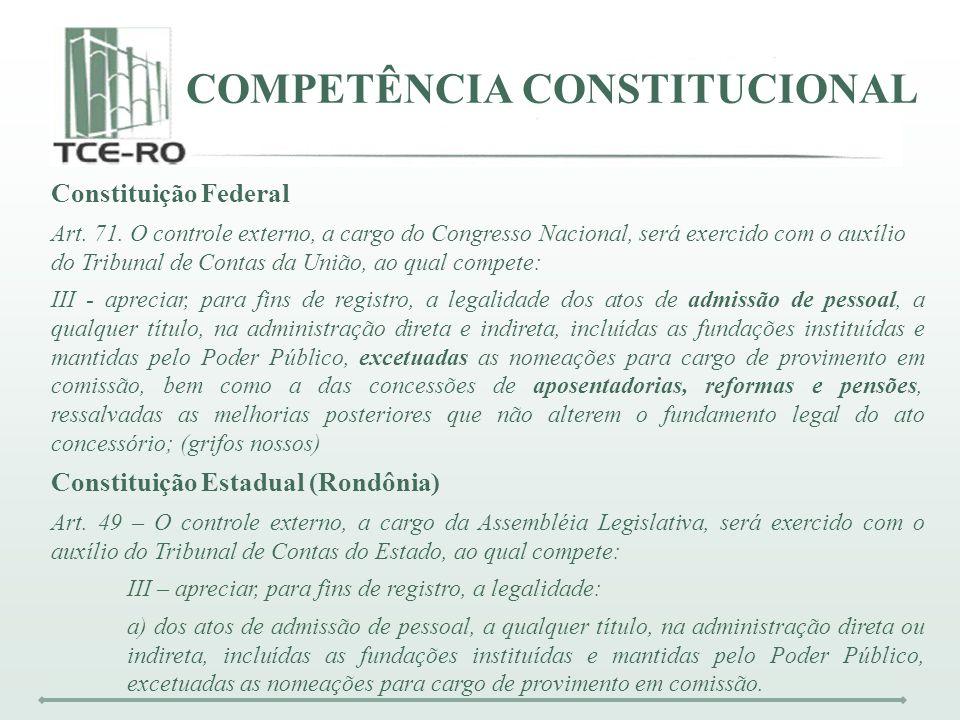 COMPETÊNCIA CONSTITUCIONAL Constituição Federal Art. 71. O controle externo, a cargo do Congresso Nacional, será exercido com o auxílio do Tribunal de