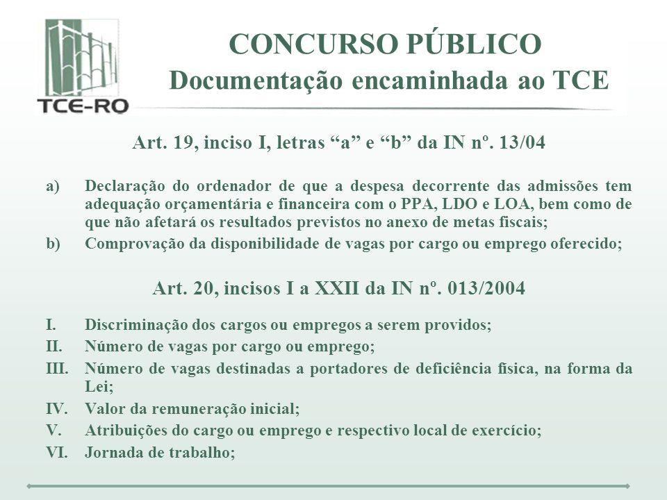 CONCURSO PÚBLICO Documentação encaminhada ao TCE Art. 19, inciso I, letras a e b da IN nº. 13/04 a)Declaração do ordenador de que a despesa decorrente