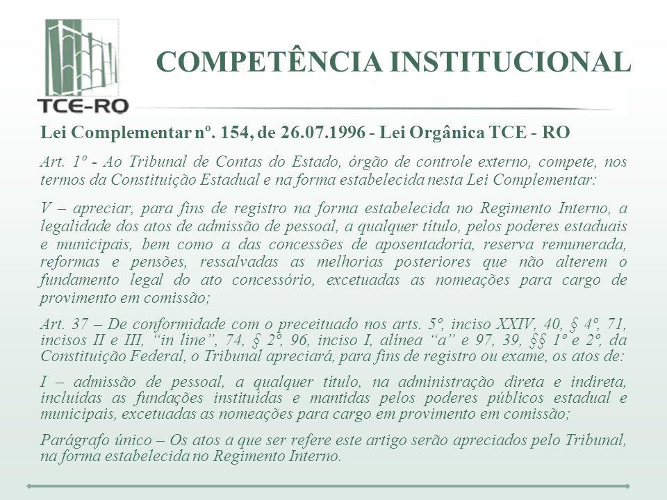 COMPETÊNCIA INSTITUCIONAL Lei Complementar nº. 154, de 26.07.1996 - Lei Orgânica TCE - RO Art. 1º - Ao Tribunal de Contas do Estado, órgão de controle