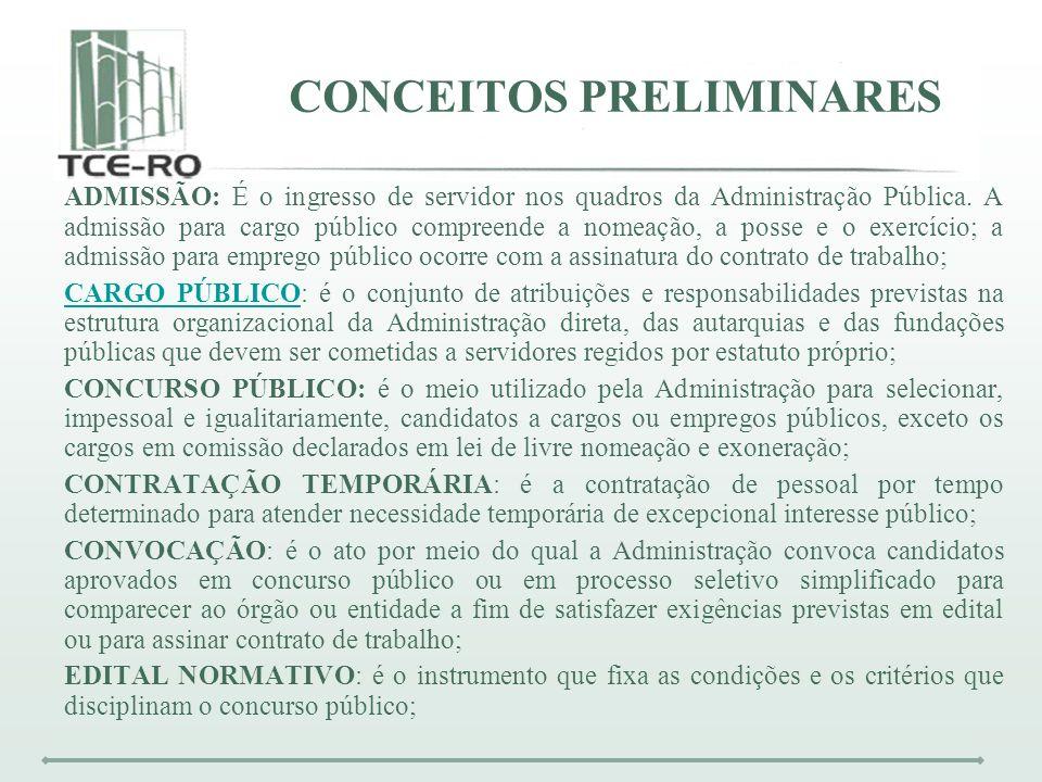 CONCEITOS PRELIMINARES ADMISSÃO: É o ingresso de servidor nos quadros da Administração Pública. A admissão para cargo público compreende a nomeação, a